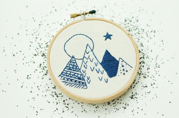 "Mountains At Dusk. Hand Embroidered Mountains. Hand Stitched Mountains with Moon. 4"" Embroidery Hoop Art. Hand Stitched Landscape."