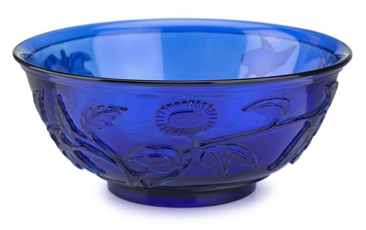 Chinese carved transparent colbalt blue glass bowl
