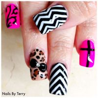 Mix gel Designs with 3-D acrylic black bow and rhinestone ...
