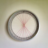 Recycled Bicycle Wheel Laced Wall Art - woven fiber art ...