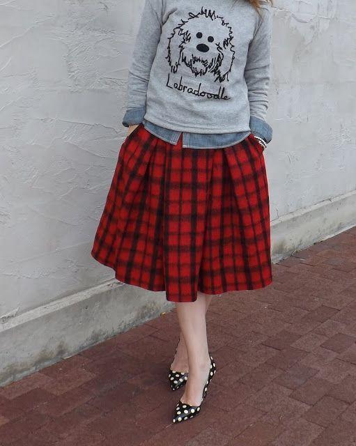 plaid skirt // labradoodle sweater