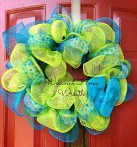 Deco Mesh Wreath Summer Flip-Flop Ribbon Wreath Front Door ...