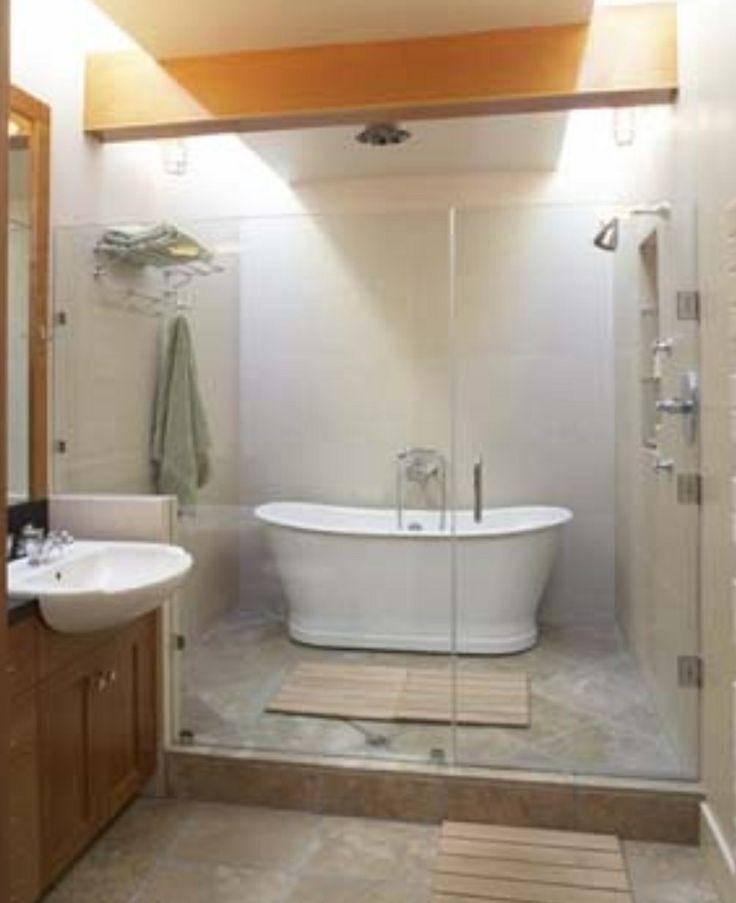 showertub wet room  bathroom  Pinterest