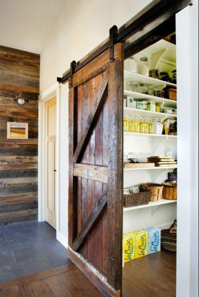 sliding barn door kitchen pantry Look! A Sliding Barn Door to the Pantry — Kitchen Inspiration