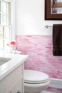 Pink subway tile wall | Inspiring Spaces | Pinterest