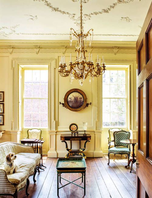 A downstairs room in Charleston's Miles Brewton House, Town & Country Magazine