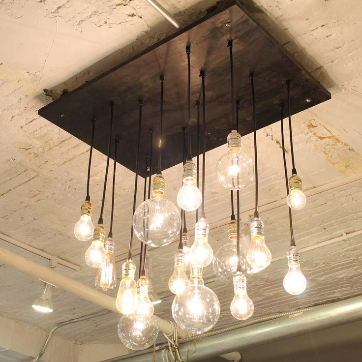 Edison light chandelier.