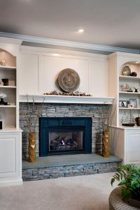 stacked stone fireplace built-ins | Dream house ideas ...