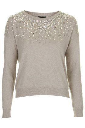 Scatter Embellished Necklace Jumper