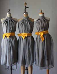 mismatched bridesmaid dresses / gray / yellow / Bridesmaid ...