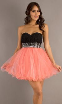 Short Poofy Black Coral Homecoming Dress Pleated Bodice ...