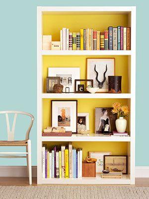 ::background splash on a bookshelf::
