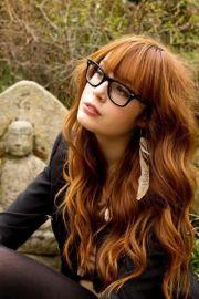 red hair bangs and make