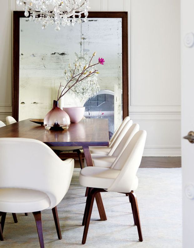 Simple & Chic dining room. Love the full length mirror.