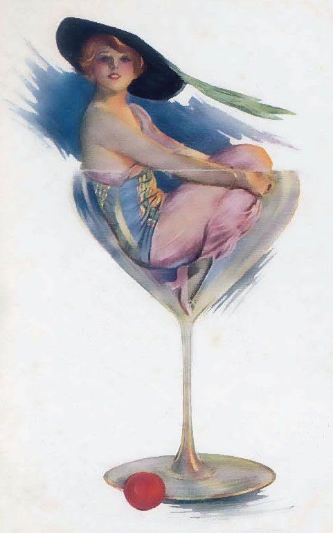 ArtbyJean ~ Art Deco Lady in Champagne Glass
