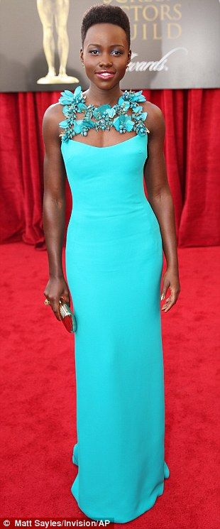 Best Dressed @ 2014 SAG Awards |  Lupita Nyong'o in a  turquoise Gucci column gown with floral-embroidered straps