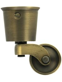 Brass Furniture Wheels. Solid Brass Round Cup Caster with
