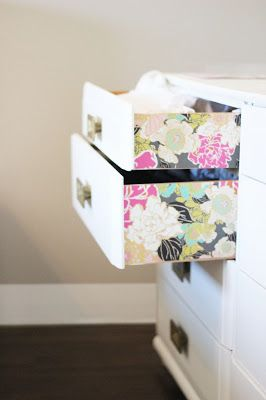 Add wallpaper to the sides of drawers. Cute idea!