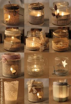 Quick trendy treatment of wrapping burlap around your votive candle containers.