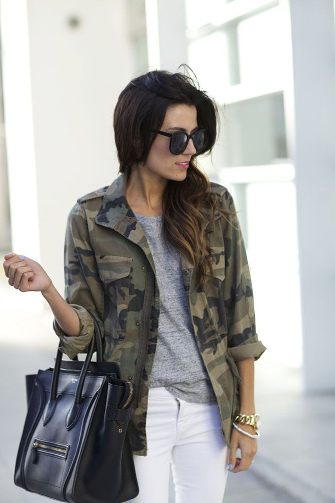 'Hello Fashion' Blogger rocking her #clubmonaco Lauren Camo Jacket, such a verstaile piece to complete any go-to look.