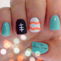 Miami dolphins gel nail art | Nail Art | Pinterest
