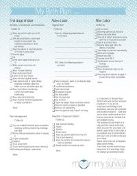 Free Birth Plan Printables