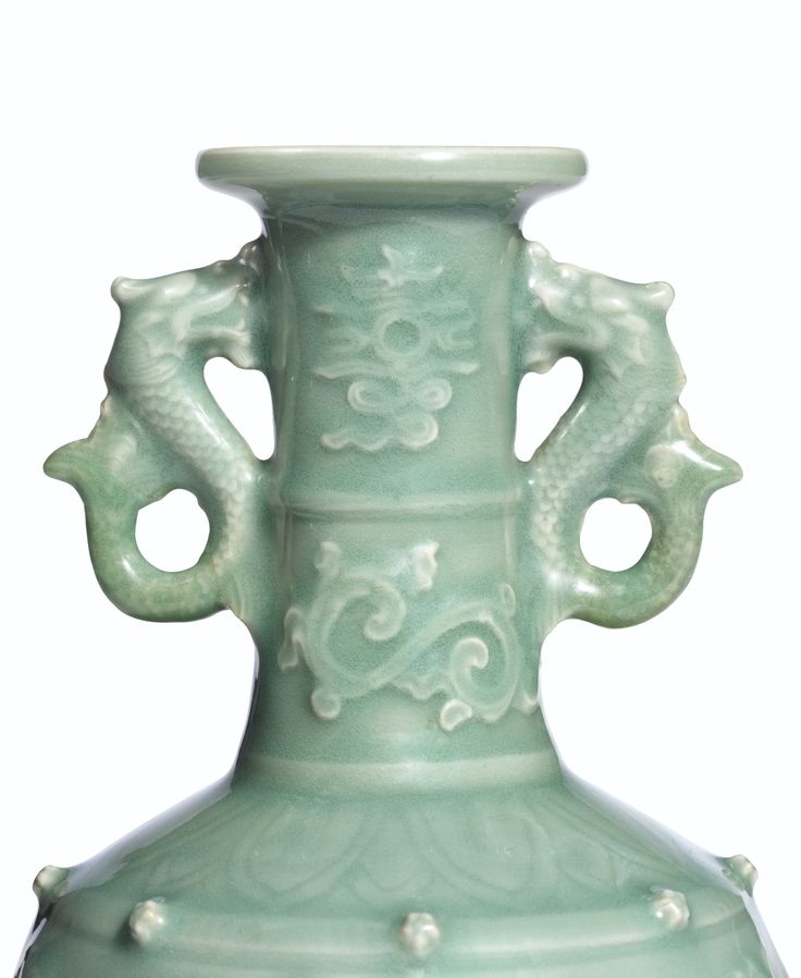 AN EXCEPTIONAL AND EXTREMELY RARE CELADON APPLIQUE-DECORATED 'DRAGON' VASE<br>YUAN DYNASTY | Lot | Sotheby's