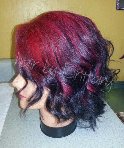 Red To Black Ombre On Short Hair Hair By Brittany Delossantos