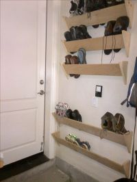 homemade shoe racks for our garage walls by the house ...