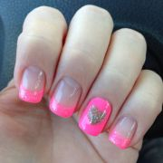 pink withsilver heart nail design