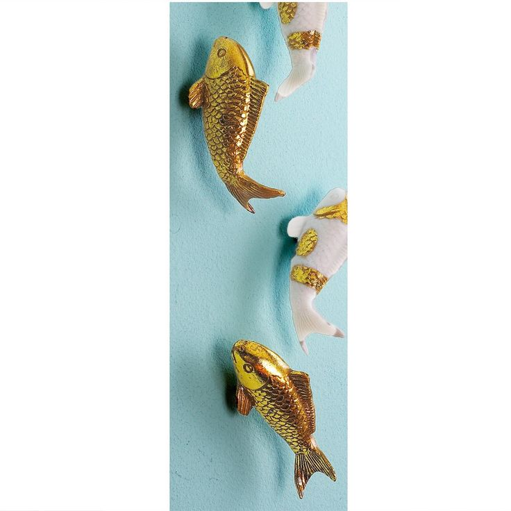 Set of Ten Koi Fish Wall Decor Available in 2 Colors: Gold