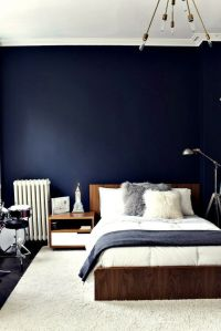 Love this navy blue wall #Bedroom | Spaces + Places ...