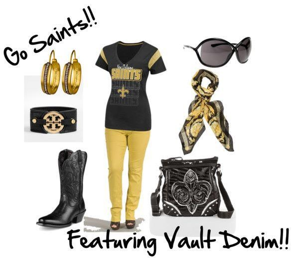 #NFL Outfit, Vault Denim, Emerson Edwards, Game Day, #Game Day Outfit, #Football, #Monday Night Football, Gear, #NOLA, #NewOrleans, #Saints, #WhoDat, Yellow Jeans,