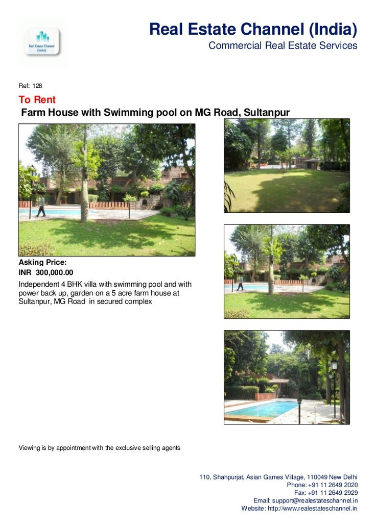 farm-house-with-swimming-pool-on-mg-road-sultanpur-for-rent by Real Estate Channel (India) via Slideshare