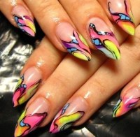 love these colorful stiletto nails   Polished   Pinterest