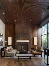 wood panel fireplace   Dwell.   Pinterest