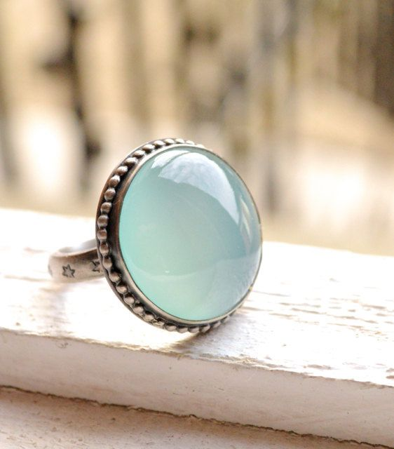 Modern Sterling Silver Ring with Aqua Chalcedony, Silver and Stone Cocktail Ring, Stylish Design, Spring, Summer