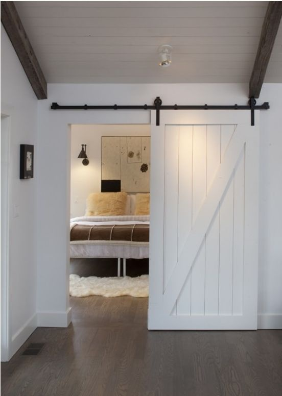 painted barn door. Slides to close bedroom from rest of space. Love.