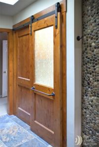 Bathroom sliding barn door