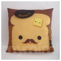 """12 x 12"""" Pillow, Brown Pillow, Food Pillow, Mustache Toast ..."""