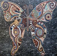 Butterfly Marble Mosaic Tiles Stone Art Wall Mural