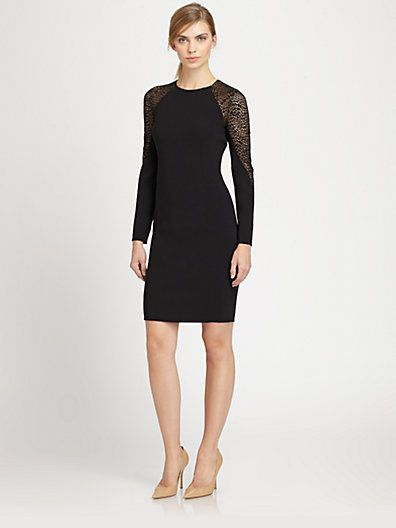 Akris - Animal-Patterned St. Gallen Embroidery Wool Dress - Saks.com, $3990