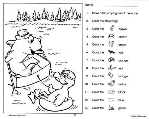 Following Directions Coloring Pages Sketch Coloring Page