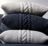 Knitted gray pillow cover - cable knit decorative pillows ...