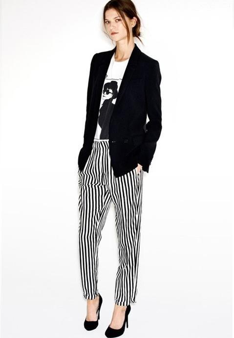 Morpheus Boutique  - Black White Striped Trendy Trousers Pants