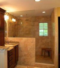 Shower idea...half wall/no door :)   Guest Bathroom ...