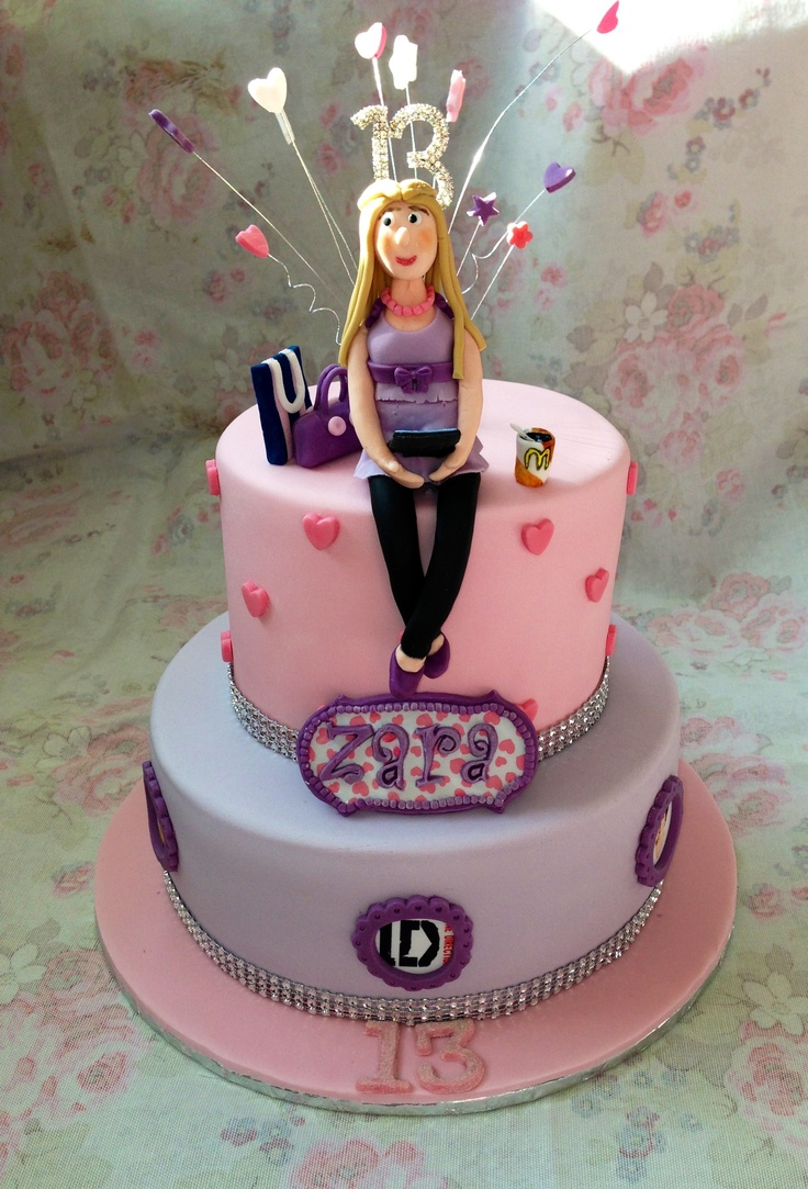 Girls 2 tier 13th birthday cake gaynors cake creations