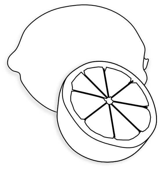 Lemon Clip Art Black and White