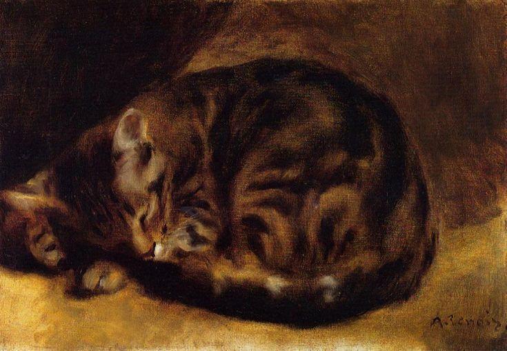 Un chat tigré dormant
