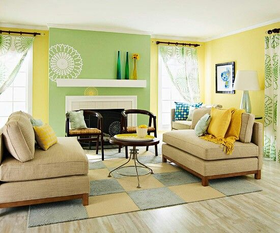 Tan yellow and green living room